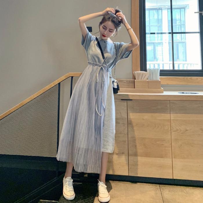 裙子仙女超仙森系气质拼接网纱连衣裙2019新款韩版网红甜美仙女裙