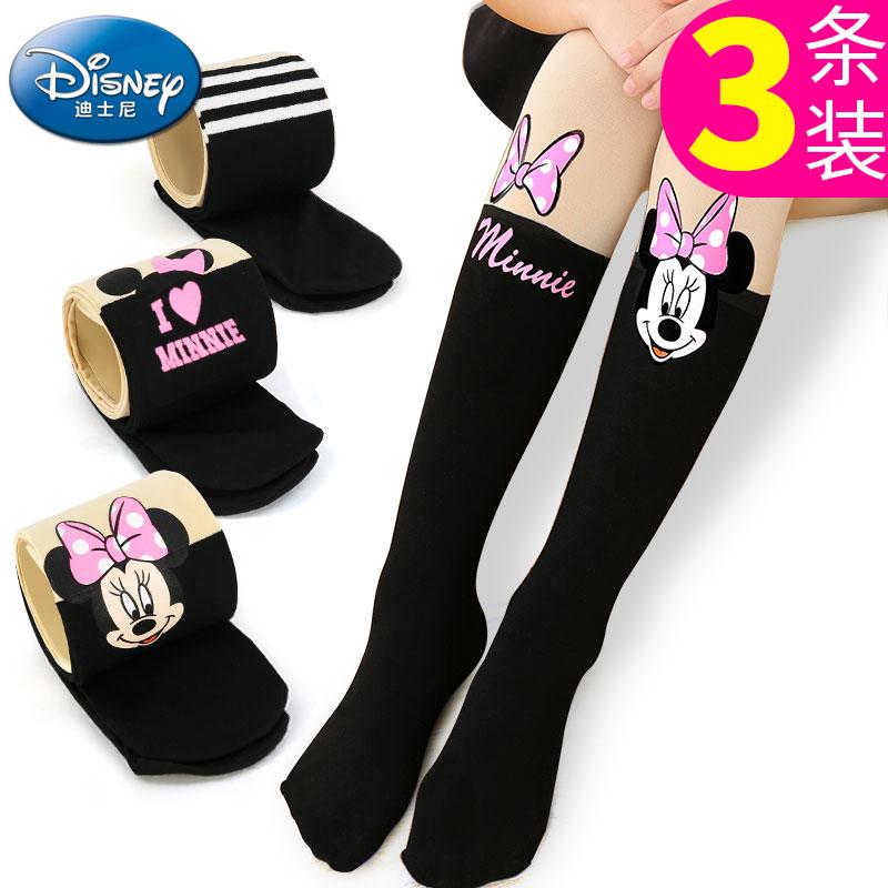 迪士尼儿童连裤袜春秋女童打底裤宝宝卡通裤袜女孩长筒袜子舞蹈袜