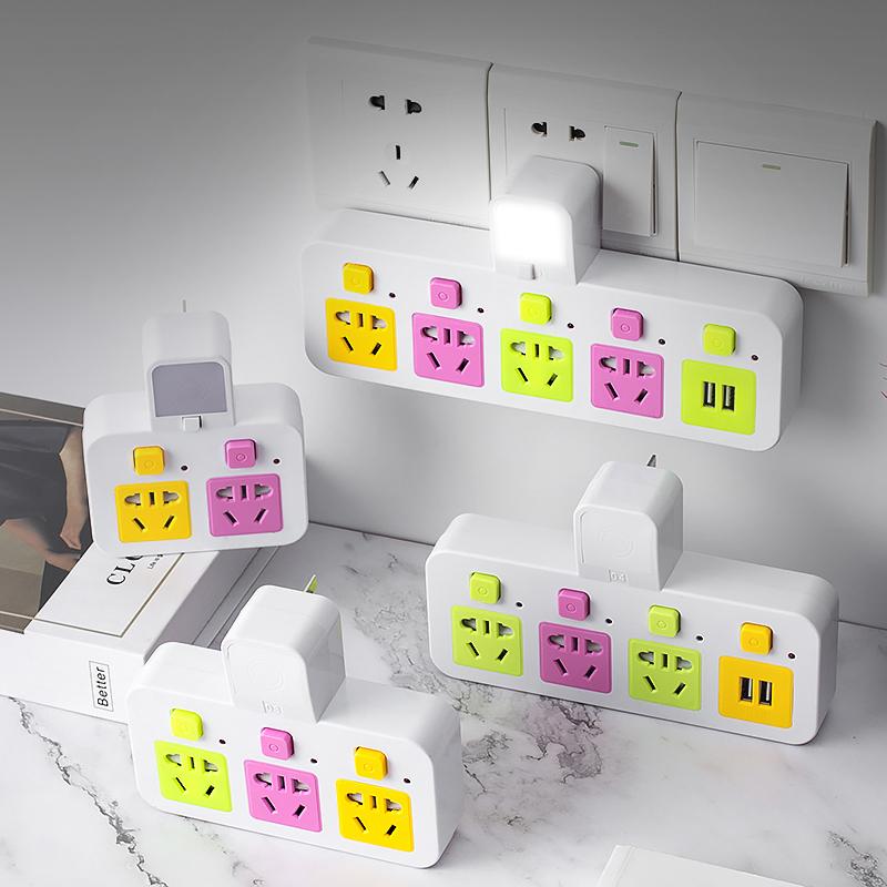家用插排无线多功能不带线 万能插头转换器带usb充电插座面板多孔图片
