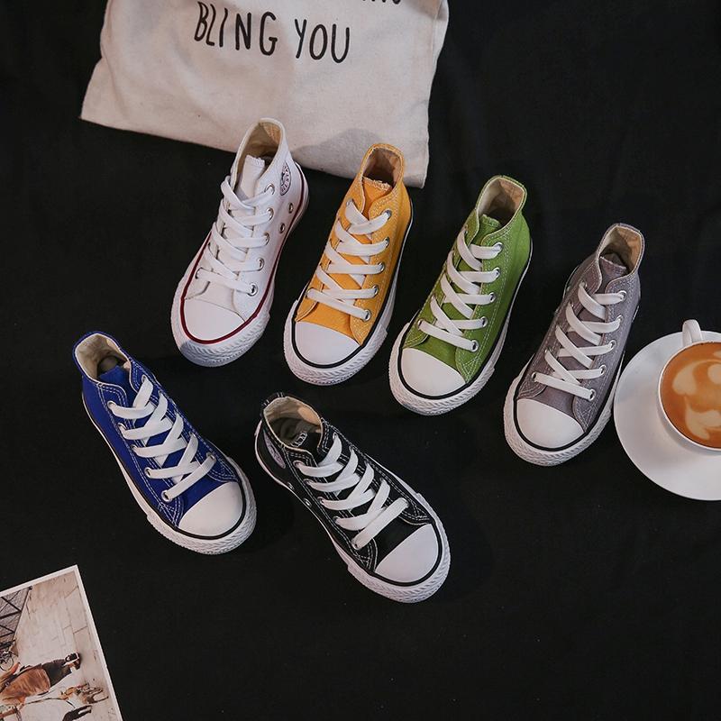 宝宝帆布鞋女童高帮布鞋儿童鞋子小童春秋布鞋男童小白鞋宝宝板鞋