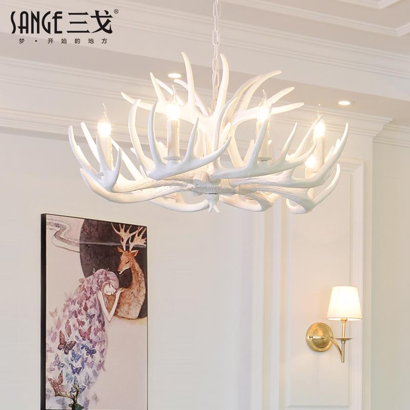 美式乡村客厅餐厅白色鹿角吊灯欧式地中海酒吧创意咖啡厅田园灯具