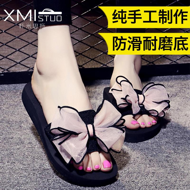 拖鞋 新款 蝴蝶结 平底 沙滩 防滑 休闲 凉鞋