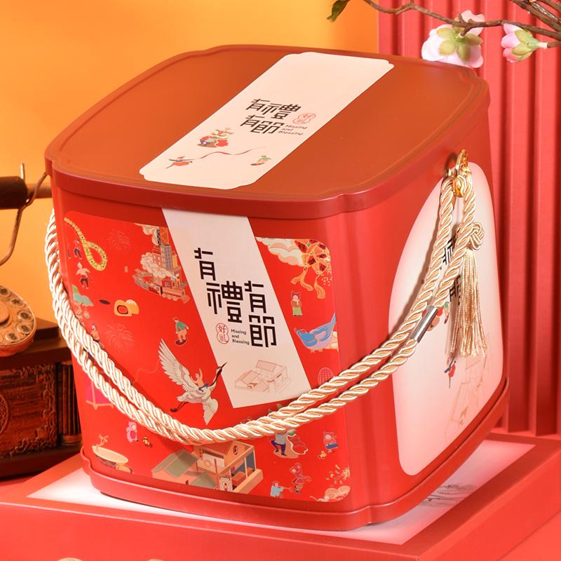 通用年货礼品盒包装空盒子坚果干货熟食土特产高档春节铁盒定制