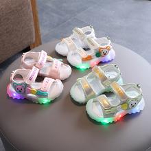 包头防踢女1-5岁2亮灯男lu10沙滩鞋ft季新式幼童学步鞋