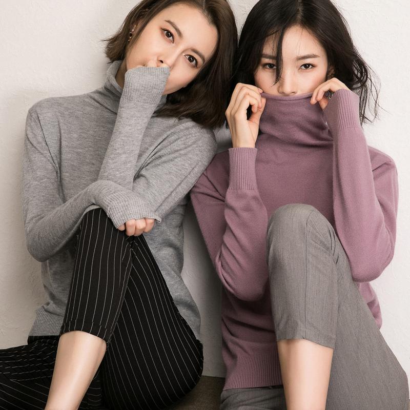 秋冬新款堆堆高领毛衣女大码宽松套头高领毛衫女打底针织衫纯色