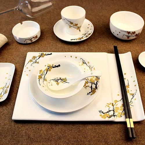 酒店饭店会所餐厅 陶瓷摆台餐具骨瓷碗勺盘骨碟黄金梅花中式豪华