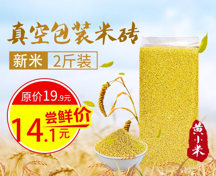 新米2斤真空装黄米黄小米食物小黄米小米粥农家小米五谷杂粮小米