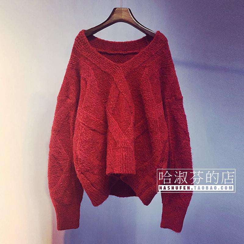 2020韩版新款V领毛衣外套加厚秋冬季宽松短款套头针织衫上衣女装