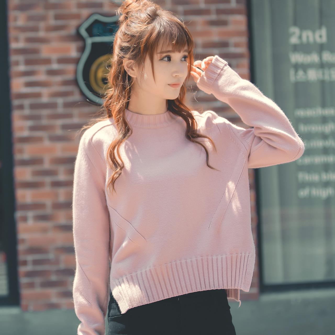 唐狮秋装套头女毛衣韩版宽松针织衫短款长袖打底衫可爱毛线衣学生