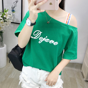 Red t-shirt female short-sleeved loose strapless 2018 summer new Han Fan student embroidery letter cotton shirt compassi