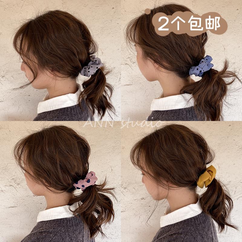 2个包邮韩国jennie同款猪大肠发圈ins法式雪纺头绳绑发带头花饰品