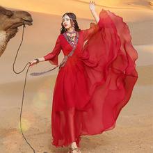复古民族风ku2色连衣裙an拍新疆吐鲁番库木塔格宁夏旅游长裙