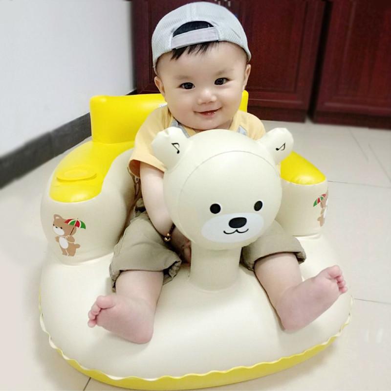 宝宝学坐椅儿童充气小沙发幼婴儿加厚防摔座椅便携式带音乐可折叠
