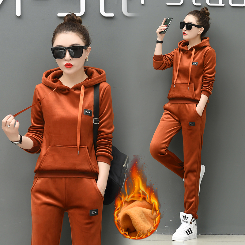【实拍】金丝绒运动服套装女冬季新款时尚加厚加绒卫衣休闲两件套 -