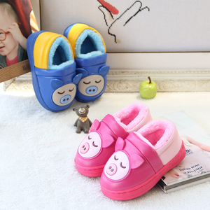 Children's cotton slippers winter boys and girls PU leather waterproof kids winter fur bag with non-slip home baby slippers