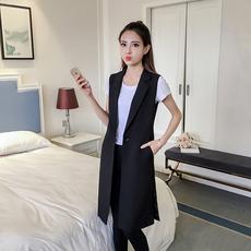 2018春秋季新款韩版黑色中长款西装马甲外套女修身无袖背心风衣潮