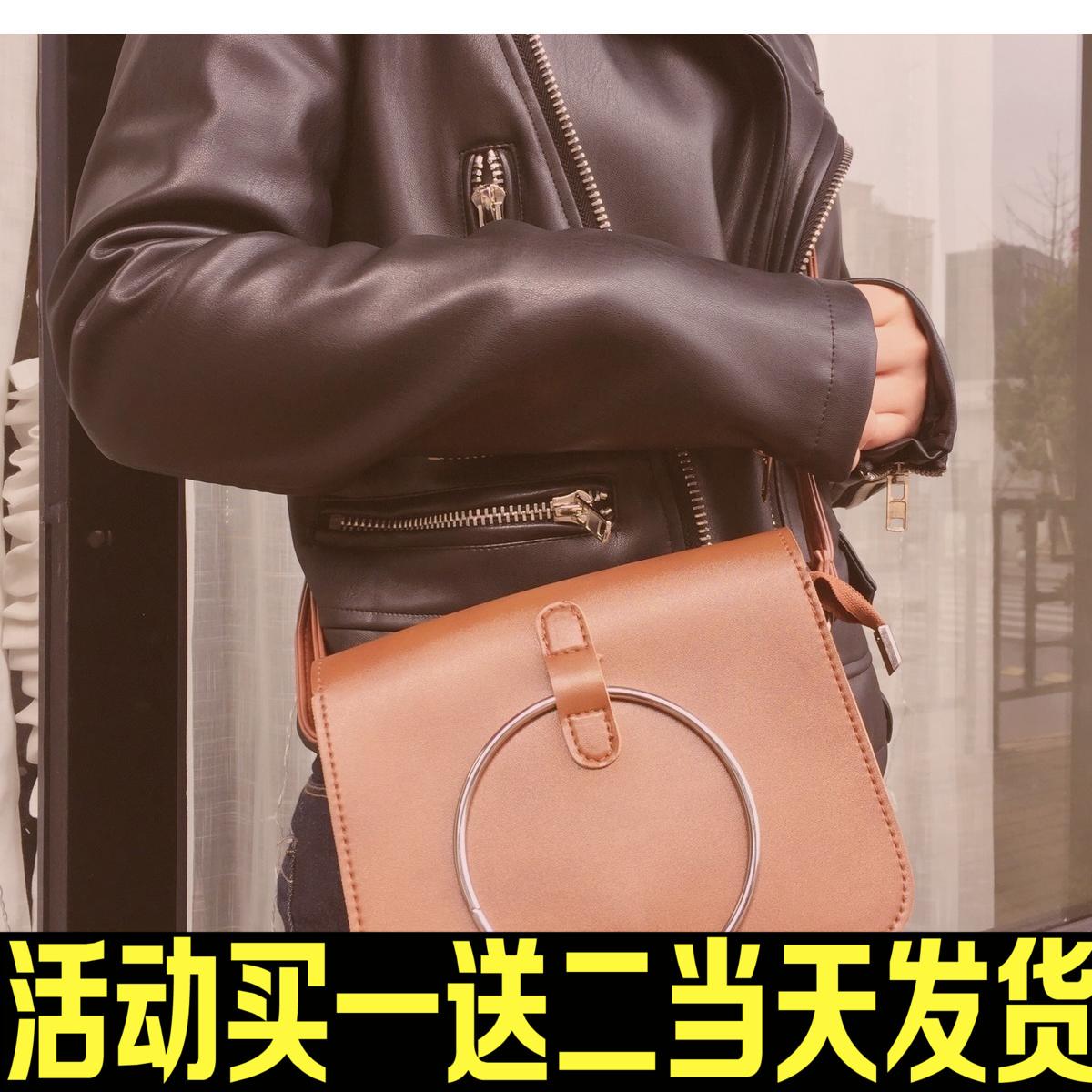韩国2017新款圆铁环时尚复古百搭潮流单肩斜挎迷你小方包包女