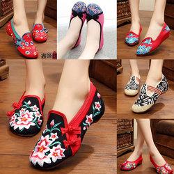 老北京女布鞋新品中国风软底内增高牛筋底女鞋坡跟民族风绣花鞋