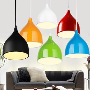 简约创意个性餐厅吊灯单个彩色餐桌服装饭店办公室吧台火锅店灯罩
