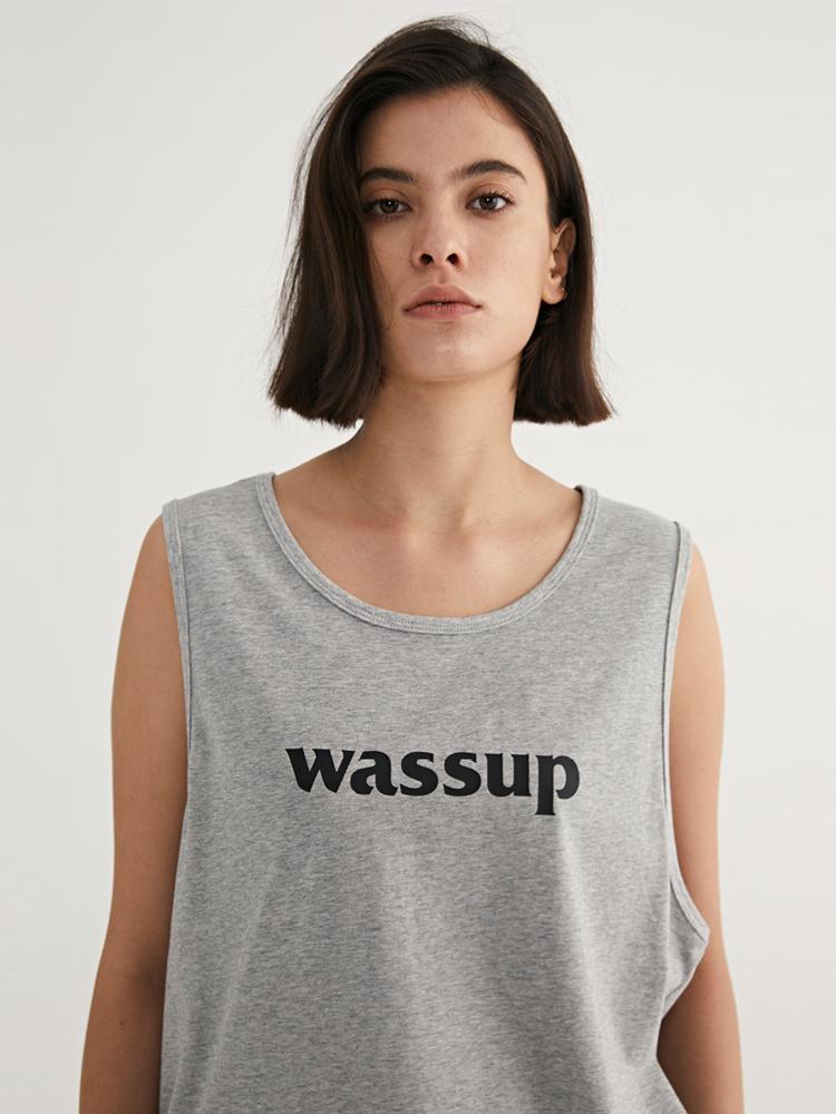 WASSUP男装夏季2021新款大logo背心女无袖圆领宽松上衣官方旗舰店