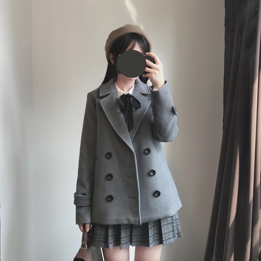 日系制服西式双排扣呢大衣软妹少女学院风百搭秋冬毛呢外套
