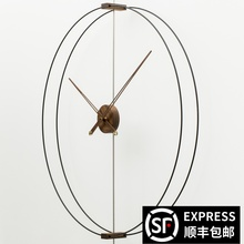 家用艺ab0静音创意uo牙极简样板间客厅实木超大指针挂钟表