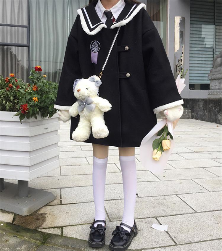实拍实价 学院海军领毛绒边呢子大衣宽松减龄秋冬毛呢外套-怪味小萝莉-