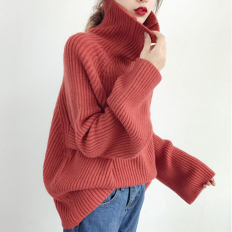 网红高领红色大毛衣女慵懒风宽松韩版2019新款加厚百搭套头针织衫