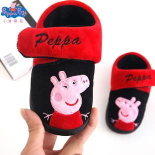 小猪佩奇儿童棉鞋1-3岁男童魔术贴包跟室内防滑软底宝宝可爱冬季