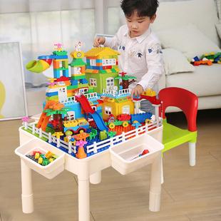 多功能积木桌子男孩子1-2-4-6女孩周岁礼物儿童益智拼装玩具legao