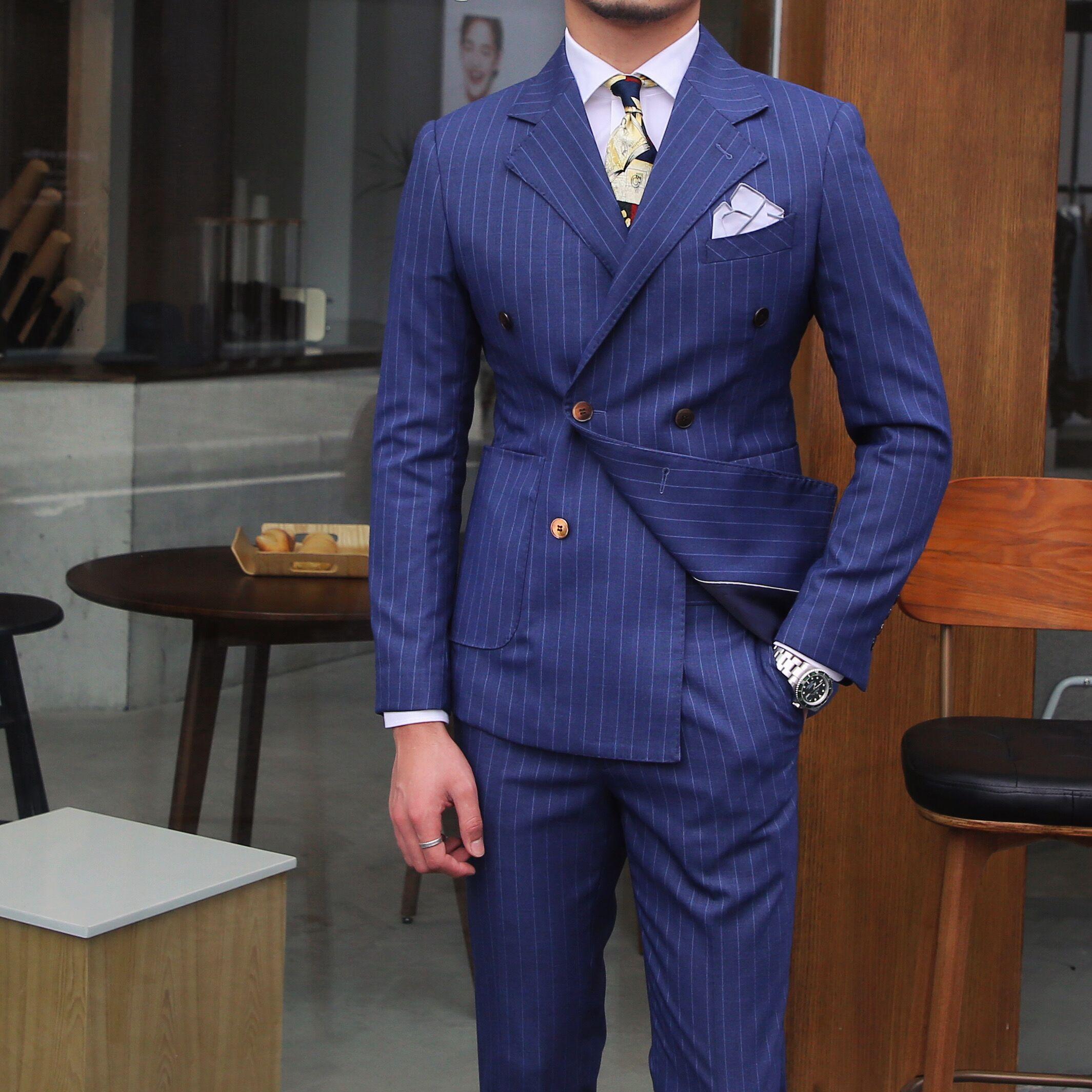 鹿三先生男士商务休闲条纹双排扣西装百搭个性时尚韩版西服外套潮