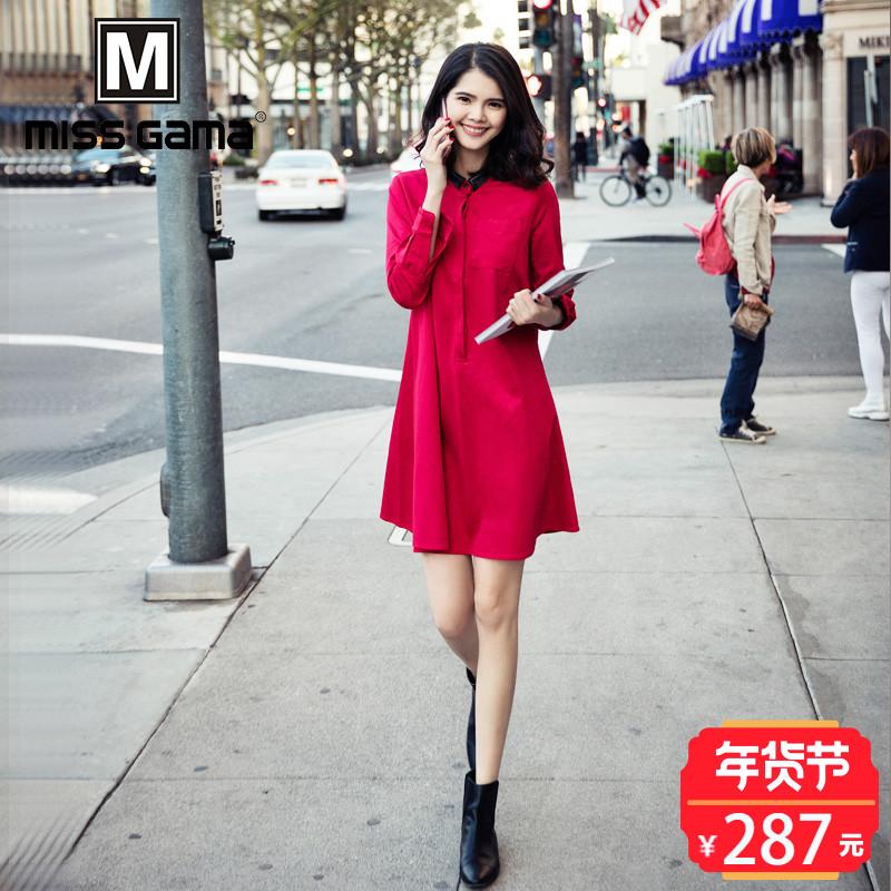 2018春装新款女装时尚红色女裙中长款衬衫打底连衣裙A字裙女潮