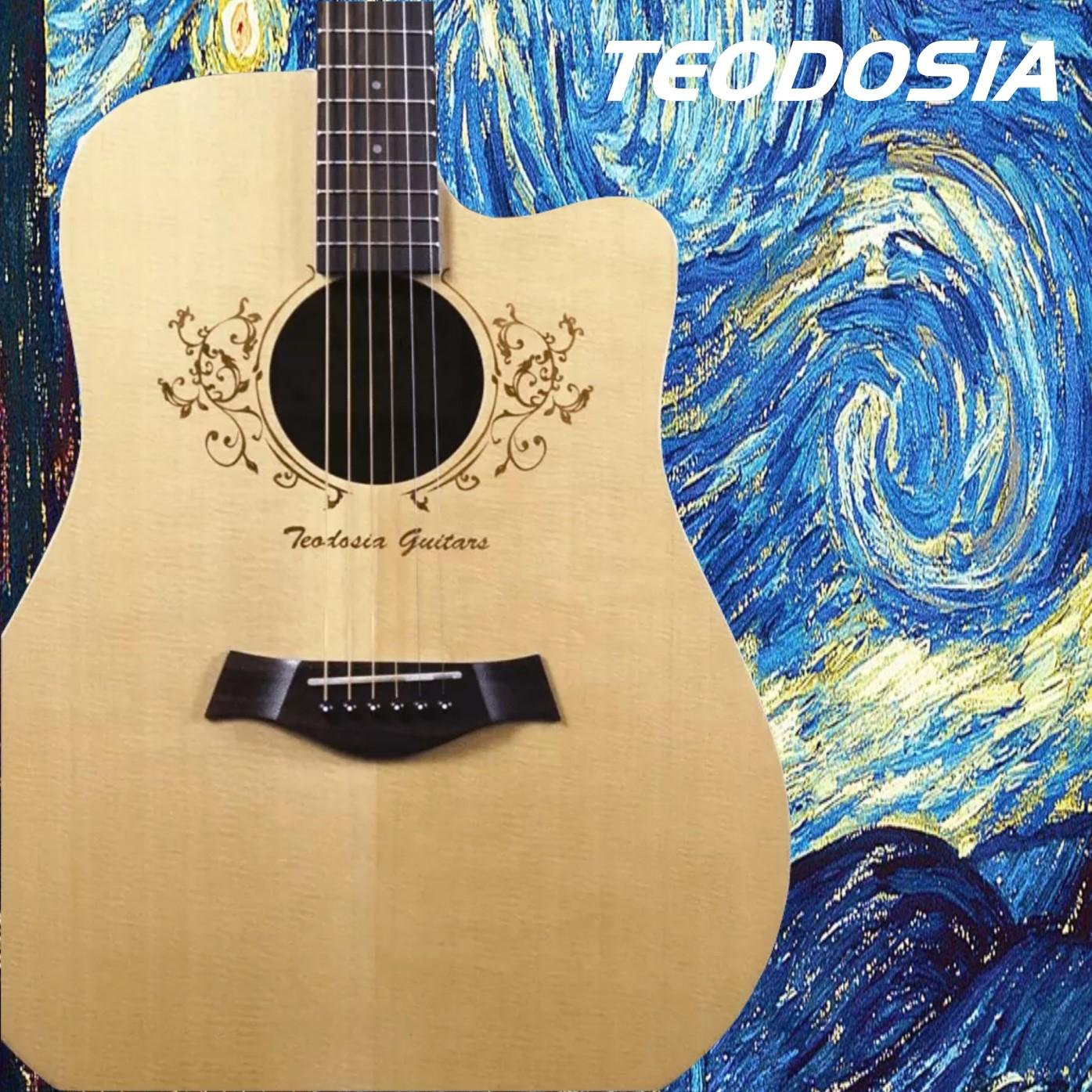 Teodosia吉它指弹单板云杉木面单板民谣男女电箱琴41寸玫瑰木吉他