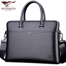 Seven Wolf Genuine Leather Men's Bag Handbag Men's Oblique Bag One Shoulder Briefcase Business Bag Backpack Tide