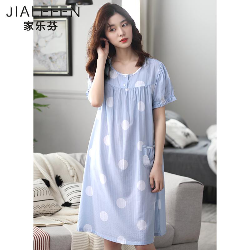 夏天睡裙女士睡衣夏季薄款短袖纯棉全棉中长款宽松加大码韩版裙子