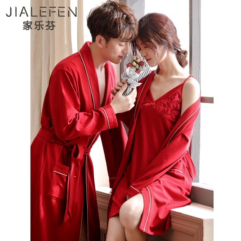 新婚结婚新娘大红色喜庆睡衣情侣晨袍长袖纯棉性感睡裙睡袍女套装