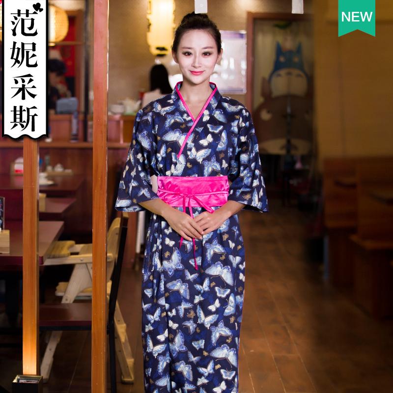 范妮采斯系带腰封修身前台迎宾服和服日式料理服务员工作装长款女