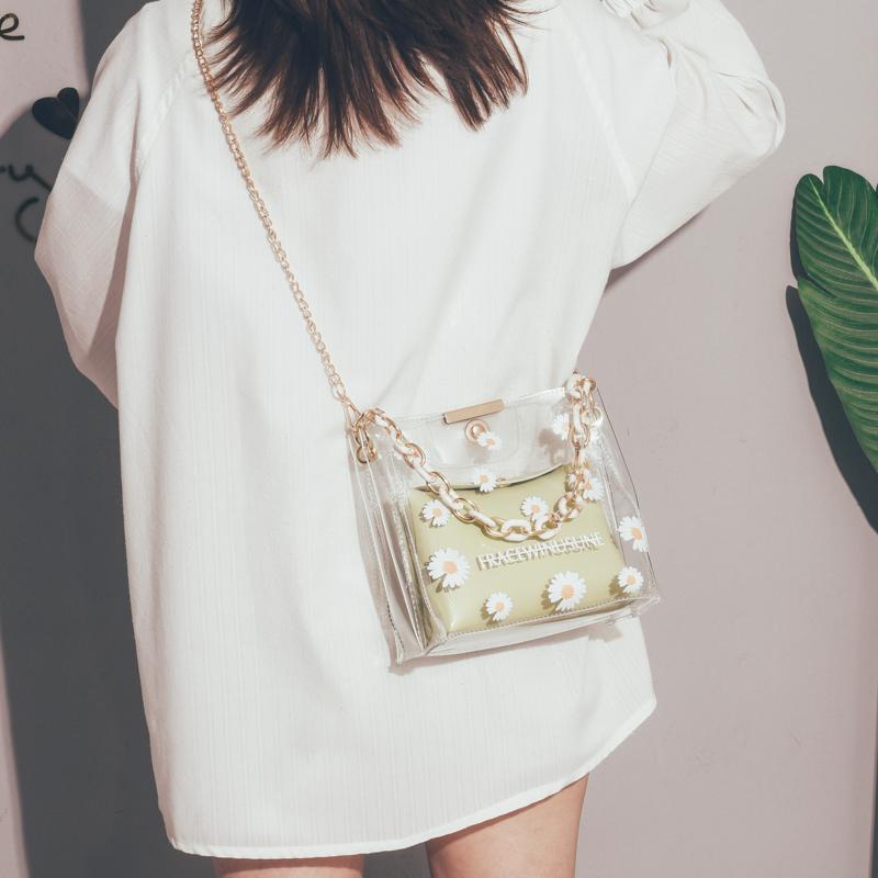 今年流行的包包女2020新款潮夏天小清新透明水桶包单肩链条腋下包