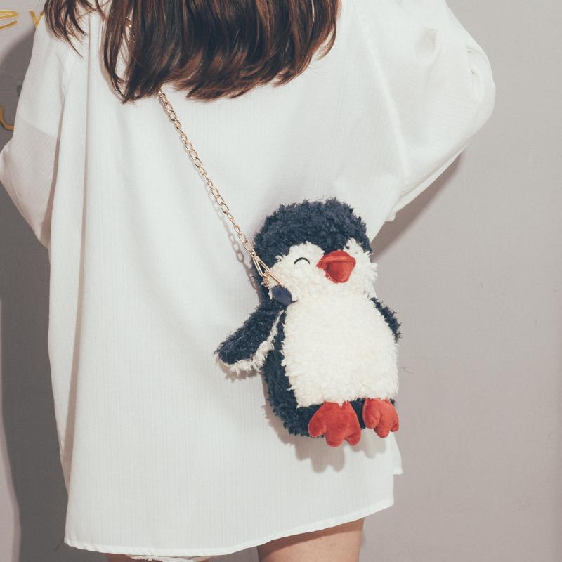 可爱小包包女2020新款潮韩版百搭斜挎包女卡通搞怪企鹅网红毛毛包