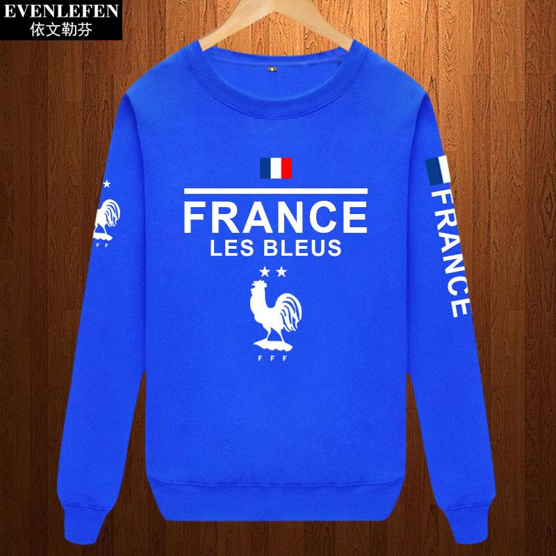 法国队圆领卫衣男女球迷服休闲运动服姆巴佩长袖格里兹曼薄款队服