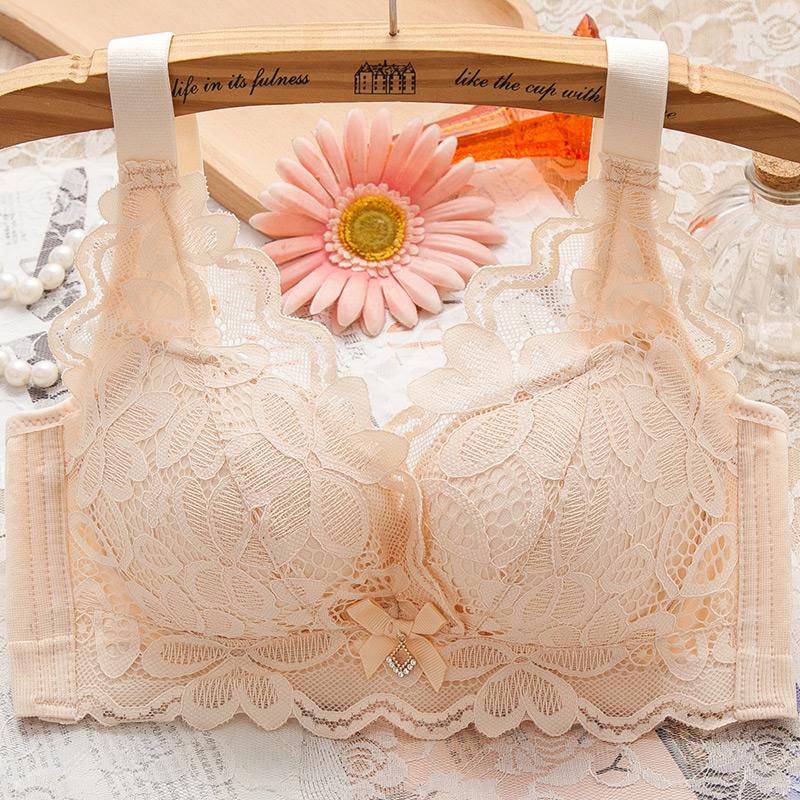 小胸聚拢内衣女调整型上托蕾丝无钢圈文胸收副乳性感加厚款胸罩