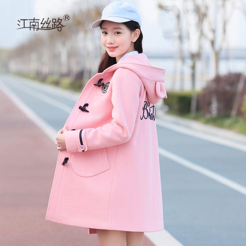 少女中学生加厚卫衣外套韩版学院风初中高中学生卫衣秋冬夹棉外套