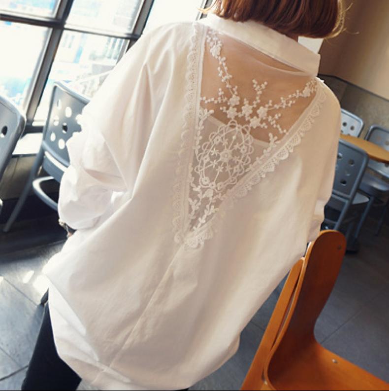 秋装新款雪纺长袖白衬衫女夏2017新款韩版胖mm中长款大码宽松衬衣