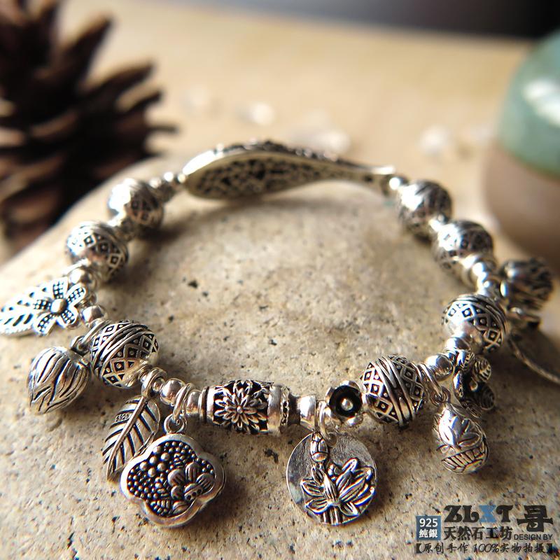 【原创手作】925纯银花朵树叶多元素混搭手链复古波西米亚风