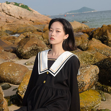 迷路森林原创娜娜同式海军风连衣裙女2dq1521新na风长袖裙子
