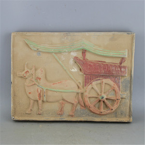 Han Tao relief carriages ceramic tile antique unearthed pottery antique antiques secondhand old miscellaneous collectibl