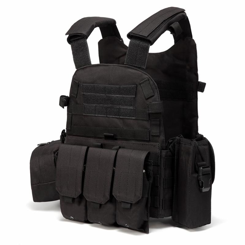 6094战术背心马甲男多功能轻量化训练服背心黑色CS户外野战装备