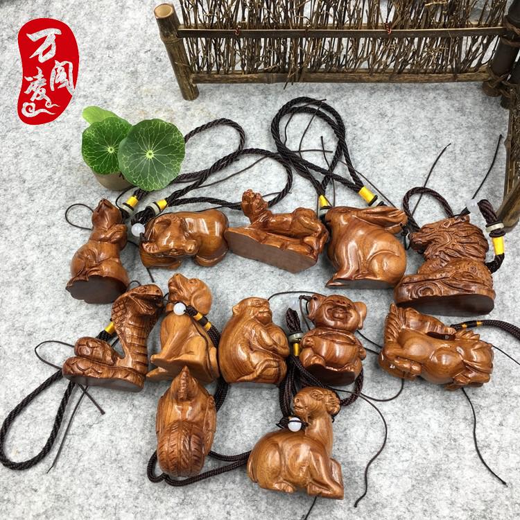 老挝黄花梨木雕手把件十二生肖猪鸡木质小工艺品实木实心雕刻摆件