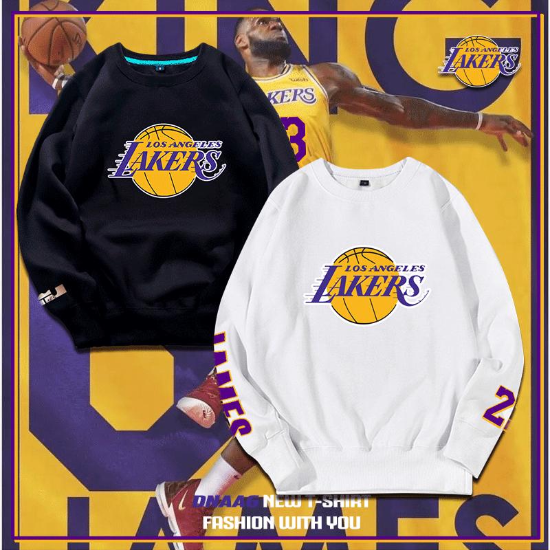 湖人队詹姆斯篮球运动卫衣男小皇帝宽松训练套头长袖圆领薄款外套
