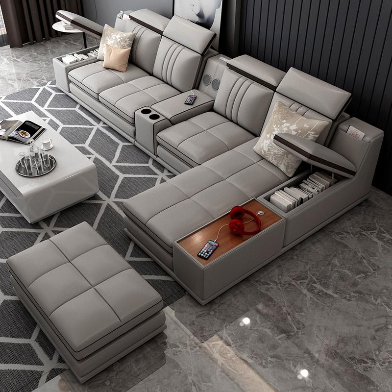 沙发客厅真皮组合套装头层牛皮现代简约北欧皮艺创意皮质智能家具